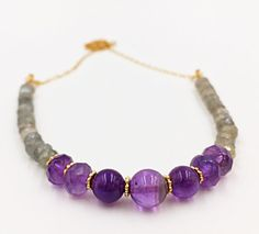 Amethyst Gold Filled Chain Stones Necklace Bar by MorMalas on Etsy