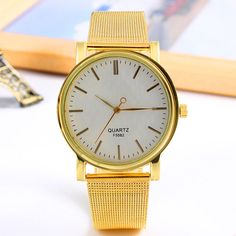 WIN NOW: Golden Plated Metal Mesh Band Round Dial Watch Mesh Band, New Fashion, Womens Fashion, Metal Mesh, Quartz Watch, Fashion Watches, Gold Watch, Plating, Stainless Steel