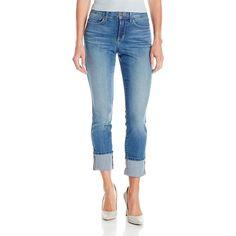 NYDJ Women's Lorena Wide Cuff Boyfriend Jeans ($68) ❤ liked on Polyvore featuring jeans, 5 pocket jeans, boyfriend jeans, nydj, blue wash jeans and zipper jeans