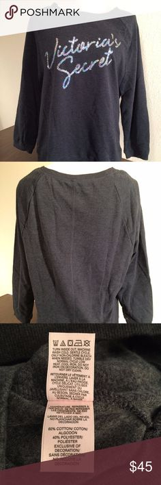 """Victoria's Secret Black Logo Bling Sweatshirt NWT Victoria's Secret Black Logo Bling Sweatshirt - NWT Size: Medium Show your Victoria's Secret love in style! It's super comfy with cotton blend material, banded bottom and sleeves, and 3/4 sleeves. It's finished with the sequined """"Victoria's Secret"""" in cursive on the front.  0667543113002 Victoria's Secret Tops Sweatshirts & Hoodies"""