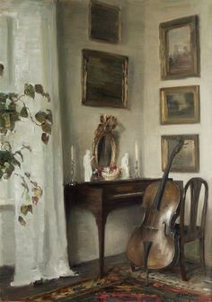 Carl Vilhelm Holsøe Interior with Cello Late. - still life quick heart, Every room should have a cello! Drawn Art, Illustration Art, Illustrations, Interior Paint Colors, Interior Painting, Gray Interior, Interior Ideas, Classical Art, Living Room Paint