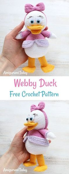 Let's crochet a pretty Webby Duck, the character of popular cartoon Duck Tales. It will make a cute gift for your little or big girl : ) Let's crochet a pretty Webby Duck, the character of popular cartoon Bag Crochet, Crochet Amigurumi, Cute Crochet, Amigurumi Doll, Crochet Crafts, Crochet Dolls, Crochet Baby, Crochet Projects, Crochet Mignon