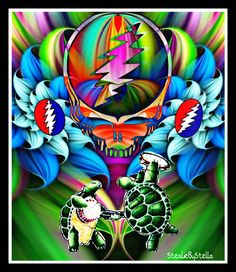 StealieByStella by deana Grateful Dead Skull, Grateful Dead Image, Grateful Dead Poster, Phil Lesh And Friends, Mickey Hart, Jerry Garcia Band, Psychedelic Drugs, Bear Drawing, Dead And Company