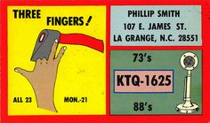 'Three fingers'. From private collection of CB radio QSL cards of the 60s, 70s and 80s. QSL cards were personalized postcards that were used as a record of contact between CB radio operators.