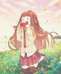 A kawaii anime girl with a camera... <3   We Heart It   anime ...