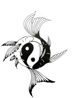 Yin-Yang Koi Fish tattoo: Chock full of symbolism.positive/negative…courage, … Yin-Yang Koi Fish tattoo: Chock full of symbolism.positive/negative…courage, overcoming life's difficulties, PLUS I'm a Pisces…and I am an identical twin. Yin Yang Fish, Ying Yang, Arte Yin Yang, Koi Fish Drawing, Koi Fish Tattoo, Fish Drawings, Koi Tattoo Design, Pisces Tattoo Designs, Yin Yang Tattoos