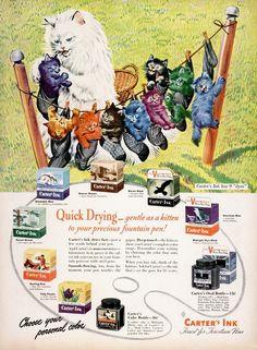 vintage_ads: Carter's Ink (1943)    Adorable.