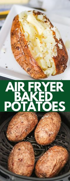 Air Fryer Baked Potatoes have a delicious crispy skin, while being soft and fluffy on the inside. They cook quickly and can be made ahead for meal prep. Air Fryer Oven Recipes, Air Frier Recipes, Air Fryer Dinner Recipes, Making Baked Potatoes, Baked Potato Recipes, Spicy Recipes, Delicious Recipes, Air Fryer Baked Potato, Oven Baked Potato