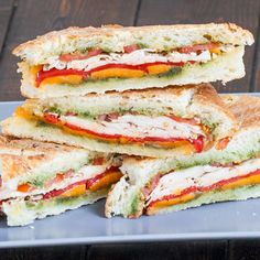Turkey Pesto Panini with cheddar cheese and roasted red peppers. Perfect for a lunch, snack or dinner!