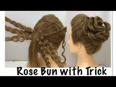 Hair styles Beautiful Rose Bun Hairstyle with Trick Rose Braid, Rose Bun, Curly Hair Braids, Curly Hair Styles, Trending Hairstyles, Braided Hairstyles, Rose Hairstyle, Simple Wedding Hairstyles, Beautiful Hairstyles