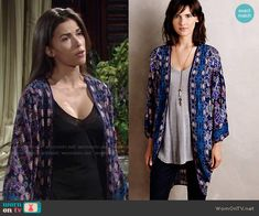 Marisa's blue and purple printed kimono on The Young and the Restless.  Outfit Details: https://wornontv.net/53361/ #TheYoungandtheRestless