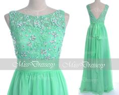 Mint Prom Dresses, Chiffom Prom Gown, 2014 Straps Lace /Chiffon Long Prom Dresses, Mint Evening Dresses, Chiffon Formal Gown on Etsy, $159.00
