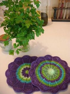 Crocheted pot holders, I  love the colors!!