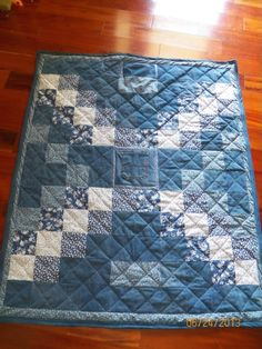 Denim quilt with two pockets for hiding goodies!