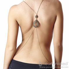 Boho Bronze Body Chain Necklace | Nearly Naked $89 #gonealrynaked #bodychain #bodyjewelry