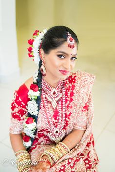 South Indian Tamil bride with flower garlands