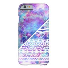 Girly Purple Pink Nebula Space White Tribal Aztec Barely There iPhone 6 Case