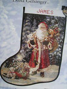 """Christmas Holiday Needlepoint Stocking Kit,SANTA,Toys,Bears,Gelsinger,Floss,17"""""""