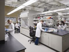This lab is consistent with the look of laboratories a few years ago. Probably some still look like this.......