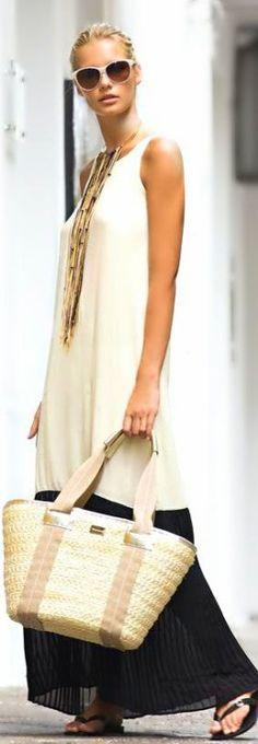 Maxi sheer color block dress