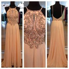 Chiffon Peach Evening Dresses Long A-line Backless Champagne