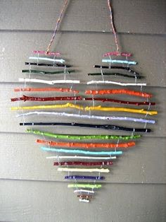 art for the cottage porch - painted sticks wired together and hung with electrical wire Make the most of the falling leaves with this collection of simple fall crafts for kids! Fall Crafts For Kids, Crafts To Do, Diy For Kids, Arts And Crafts, Decor Crafts, Twig Crafts, Driftwood Crafts, Kids Crafts, Summer Crafts