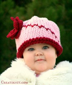 **This is the pattern tutorial to knit the hat, not the actual hat!**    You'll love this adorably fun and pretty project for baby!    Knit up in many
