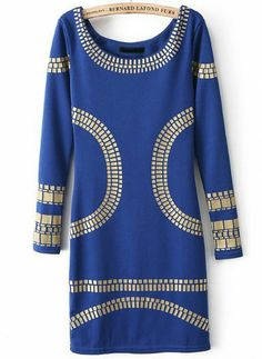 Blue Long Sleeve Backless Body Conscious Dress 0.00