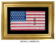 45 Star Antique American Flag with GAR Overprint and Staggered Star Pattern