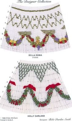 Della Robia is an elegant Christmas smocking design plate designed by Ellen McCarn.  Available at www.chadwickheirlooms.com