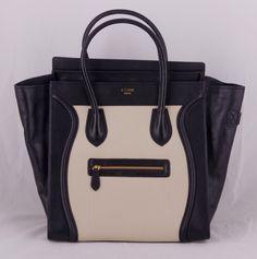 Сумка CELINE (Селин) Boston bag из натуральной кожи черно-белая