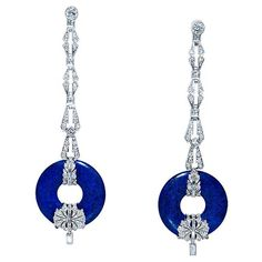 Art Deco Diamond and Lapis Lazuli Earrings, circa 1930.