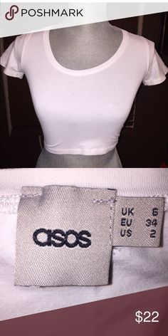 Asos White Crop Top Short Sleeve Crop Top Super cute crop top size 2 which also fits a small. ASOS Tops Crop Tops
