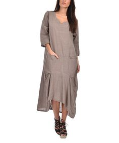 Look what I found on #zulily! Taupe Linen Pocket-Accent Dress - Plus Too #zulilyfinds