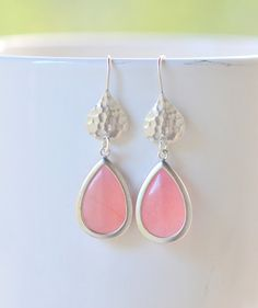 Simple Coral Pink Teardrop Earrings in Silver by RusticGem.