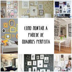 Como montar a parede de quadros perfeita - 01 Bedroom Decor, Wall Decor, Tumblr Rooms, Furniture Arrangement, Decoration, Frames On Wall, Sweet Home, Gallery Wall, Design