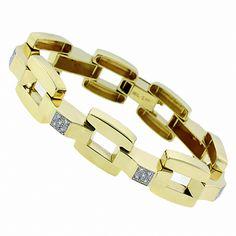 1960s 1.00ct Round Cut Diamond 14k Yellow Gold Bar Chain Bracelet - See more at: http://www.newyorkestatejewelry.com/bracelets/vintage-1.00ct-diamond--bracelet/24232/6/item#sthash.WwcRSjmC.dpuf