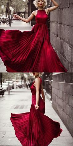 Stylish A-Line Jewel Sleeveless Open Back Burgundy Long Prom Dress With Pleats D30075