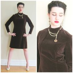 Vintage 1960s Brown Velvet Day Dress with Gold Coin Chain / 60s Long Sleeved Dress by BasyaBerkman on Etsy