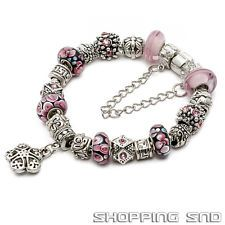 Silver European Charm Bracelet Crystal Murano Glass Beads Pink Summer By eART