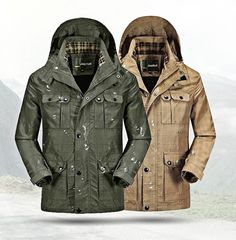 Plus Size Mens Casual Outdoor Fast Drying Jacket Waterproof Removable Hood Military Coat Jacketssales-NewChic Mobile