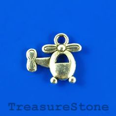 #Charm, #pendant, silver-plated, 15x14mm helicopter.  #TreasureStone Beads Edmonton.
