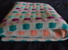 Large Tan Blanket/Bed Cover With Pink Peach by TsEclecticCorner, $35.00