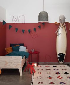 So far in the Petit and Small colour series we have looked at how to use green and yellow in children's spaces. Today we are looking at the best ways of using red in a kids room. Red is known to be a warm colour. It has the ability to make a space feel … Red Bedroom Walls, Accent Wall Bedroom, Boys Bedroom Decor, Red Walls, Bedroom Ideas, Red Kids Rooms, Red Rooms, Surf Decor, Kids Room Design