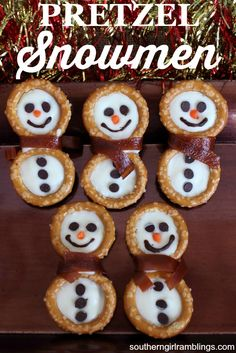 These pretzel snowmen recipe are a cute holiday treat! It's an easy Christmas recipe you can get the kids to hel you with!