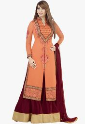 Admyrin Orange Embroidered Dress Material Online Shopping Store