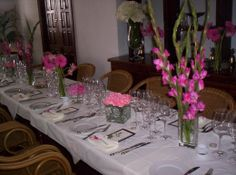 Mix it up with different vases containing different types and sizes of flowers.