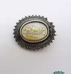 Pasarel - Silver Filigree & Mother Of Pearl Ploughing Brooch, Palestine, Ca 1920 $465.00