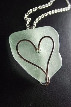 Sea Glass Jewelry - Heart Necklace - I HEART RI. 27.50, via Etsy.