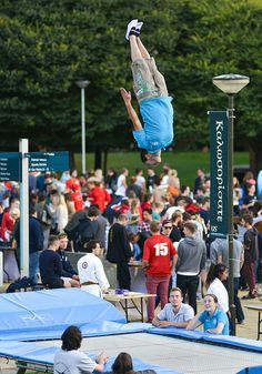 Trampoline club demo at Freshers' Fair by University of Sussex, via Flickr
